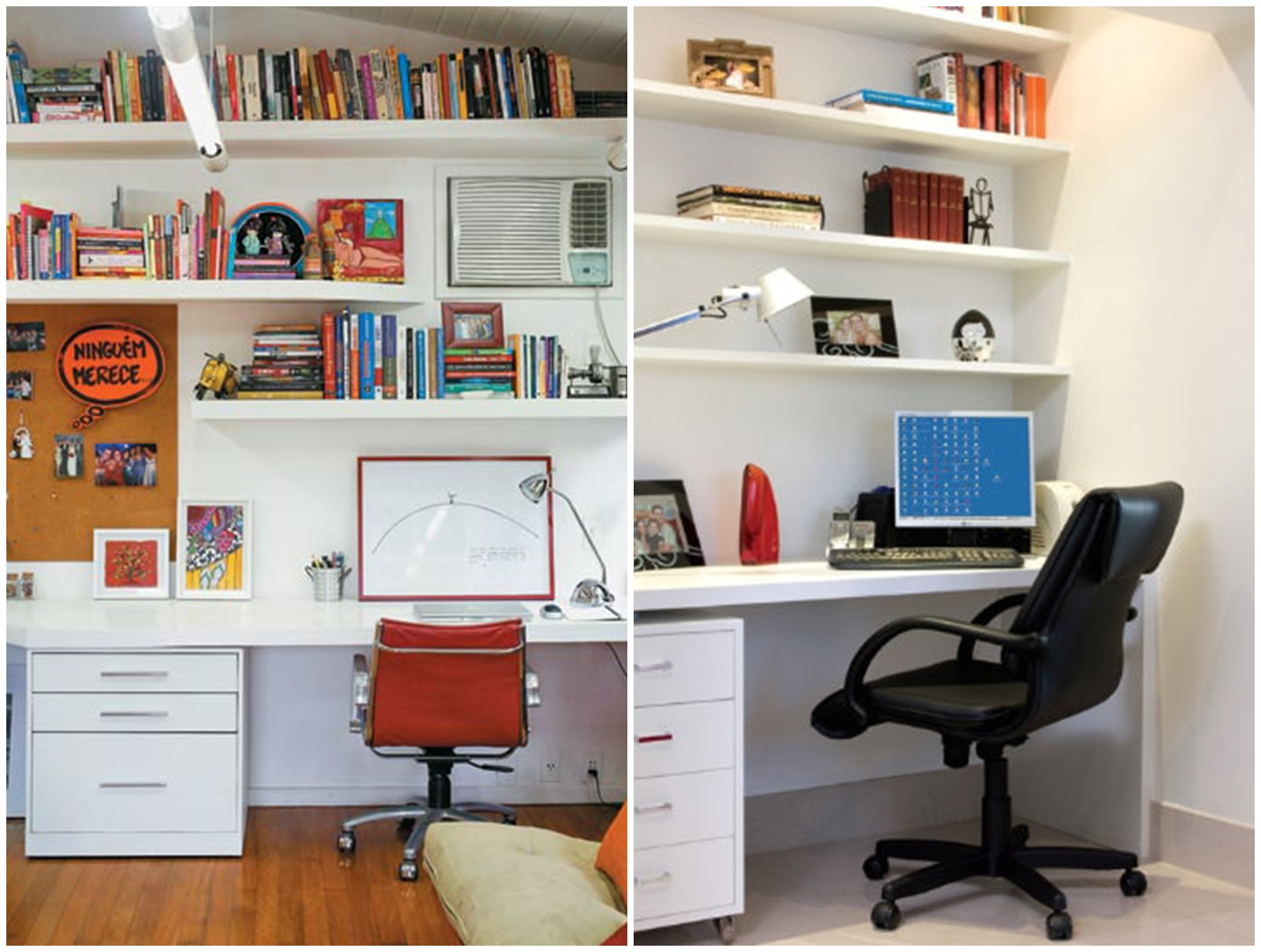 18 Home Office com prateleiras