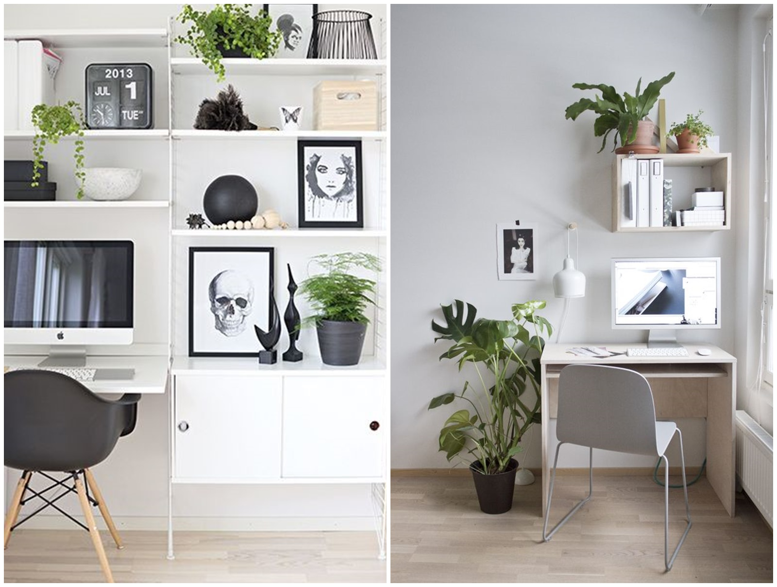 20 Home Office com vasos e plantas