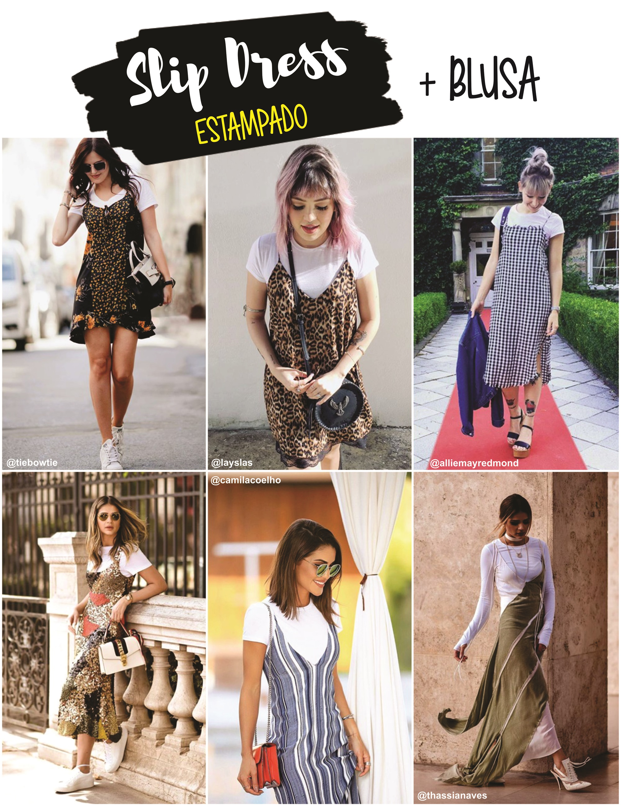 Slip dress estampado E COM BLUSA